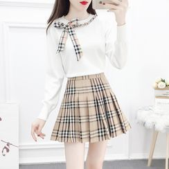 Petit Lace - Set: Bow-Accent Knit Top + Check Pleated Skirt