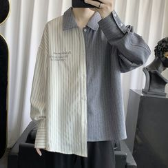 JUN.LEE - Asymmetric-Hem Pinstripe Long-Sleeve Shirt
