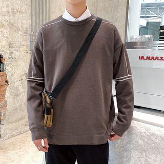 Obikan - Long-Sleeve Contrast Trim Knit Top
