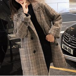 Shimi - Plaid Double-Breasted Coat