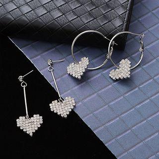 Seoul Young - Rhinestone Heart-Drop Earrings
