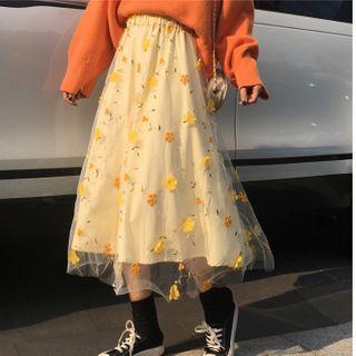 Sisyphi - Flower Embroidery Mesh Midi Skirt