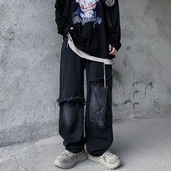Banash - 散襬寬腿牛仔褲