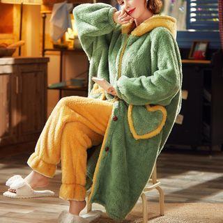 rivasong - Loungewear Set : Coral Fleece Hooded Top + Pants