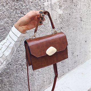 Shimme - Croc Grain Faux Leather Satchel Bag