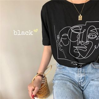 Short-Sleeve Face Print T-Shirt