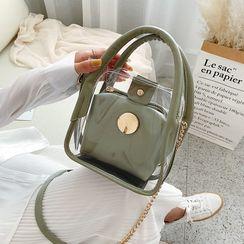 Skyglow - Set: Transparent Top Handle Crossbody Bag + Pouch