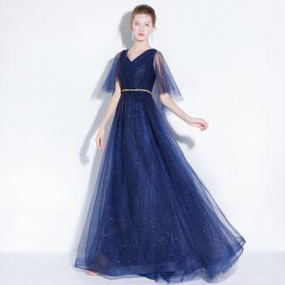 Sennyo - Mesh Panel Sleeveless Evening Dress
