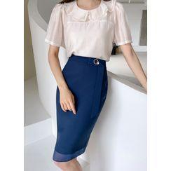 Styleonme - Belted Chiffon-Trim Midi Pencil Skirt