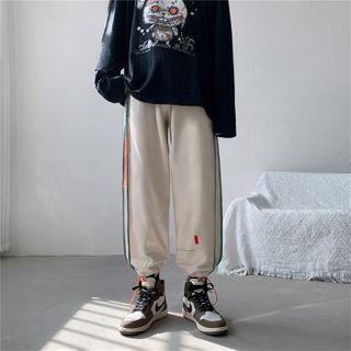 Oakjam - Drawstring-Cuff Striped Sweatpants