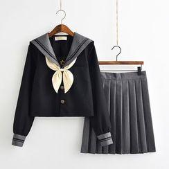Aiyiruo - 短袖水手領上衣 / 長袖上衣 / 開衫 / 迷你飾褶裙 / 襪子 / 蝴蝶結領 / 套裝
