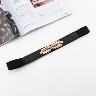 Rofuka(ロフカ) - Alloy Leaf Faux Leather Elastic Belt