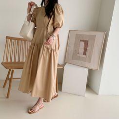 NANING9 - Puff-Sleeve Long Ruffle Dress