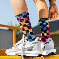 Cloud Femme - Checkered Tie-Dye Socks