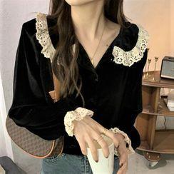 Serendipitous - 蕾絲邊絲絨襯衫