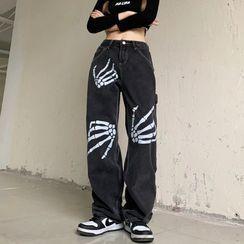 Banash - Skeleton Print Wide-Leg Jeans