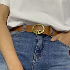 Tangipop - Round Buckle Faux Leather Belt