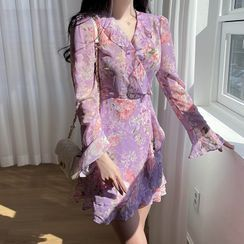 MyFiona - Ruffled Floral Chiffon Wrap Dress