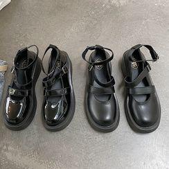 时尚麦乐 - 厚底三带玛莉珍鞋