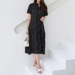 CANMART - High-Neck Dot/Foliage Dress (2 Types)