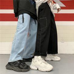 Porstina - 高腰侧袋直筒牛仔裤