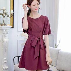 Bornite - 腰结带短袖A字连衣裙