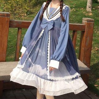 BODTOWN - Sailor Collar Bow Long-Sleeve Midi A-Line Dress