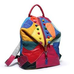 Annmuu - Studded Color Block Genuine Leather Backpack