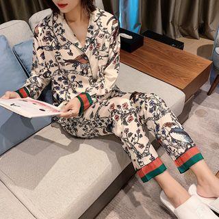 Endormi - Set: Long-Sleeve Floral Print Pajama Top + Pants