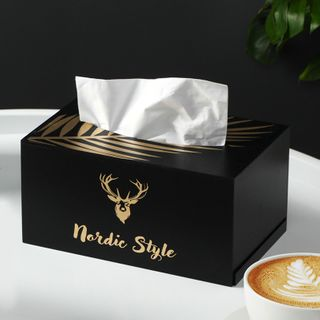 Home Simply - Deer Print Wooden Tissue Box