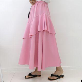 DANI LOVE - Band-Waist Ruffle-Hem Long Skirt