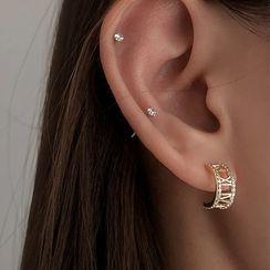Honne - 925 Sterling Silver Rhinestone Earring