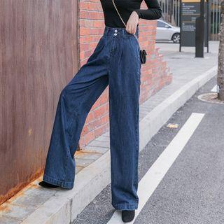 COOLIN - 高腰寬腿牛仔褲