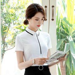 Victoire - 短袖配色边西装衬衫 / 迷你铅笔裙 / 套装