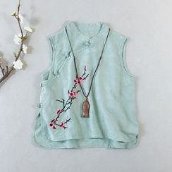 Vateddy - Traditional Chinese Sleeveless Embroidered Floral Frog Buttoned Top
