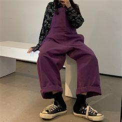 Moon City - Long-Sleeve Cartoon Print Shirt / Wide-Leg Dungaree Pants