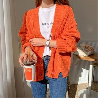 Ontheriver - Single-Breasted Cable-Knit Cardigan