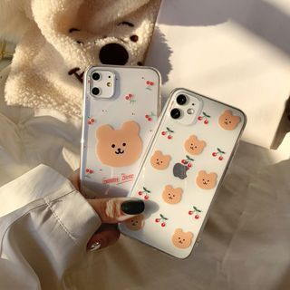 kloudkase - Bear Print Transparent Phone Case - iPhone 12 Pro Max / 12 Pro / 12 / 12 mini / 11 Pro Max / 11 Pro / 11 / SE / XS Max / XS / XR / X / SE 2 / 8 / 8 Plus / 7 / 7 Plus / 6 / 6 Plus