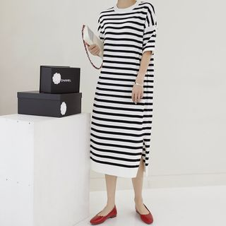 Lemite - Slit-Side Striped T-Shirt Dress