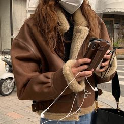 Baage - 仿麂皮内抓毛机车外套