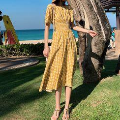 BOHEME - Dotted Open-Back Short-Sleeve Midi A-Line Dress