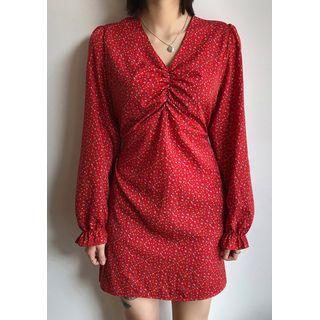 chuu - V-Neck A-Line Floral Dress