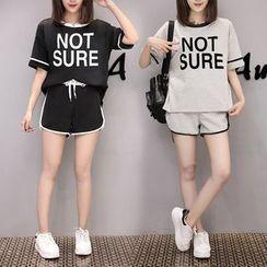 Smooch - Set: Lettering Short-Sleeve T-Shirt + Sports Shorts
