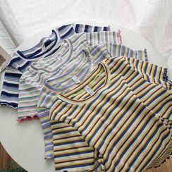 Miss Puff - 条纹短袖针织上衣