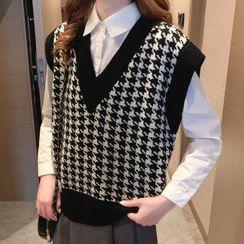 Bolifon - Houndstooth Knit Vest