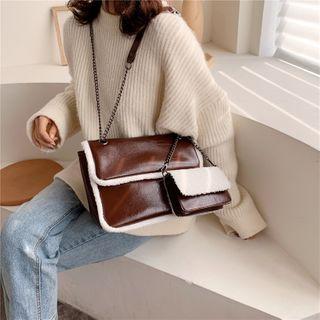 KOCORE - Chain Fleece Trim Crossbody Bag with Pouch