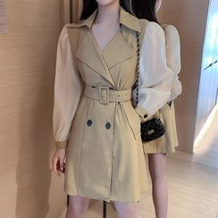 Dayce - Paneled Double Breasted Mini A-Line Coat Dress