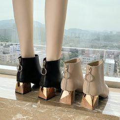 Belbie - Plain Block Heel Short Boots