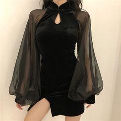 Dinse - Lantern-Sleeve Mini Velvet Qipao