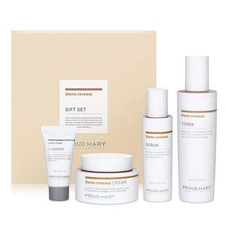 PROUD MARY - Stems Renewal Gift Set: Toner 150ml + Serum 50ml + Cream 50ml + Lacto-Fresh Whipping Cleanser 20ml